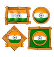 india flag on round and square badges vector image vector image