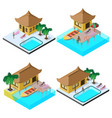 isometric image set with bungalows motorboats vector image vector image