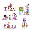kids in kindergarten fun children learning vector image