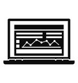 laptop finance graph icon simple style vector image