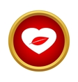 Leaf in a heart icon simple style vector image