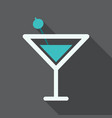 martini cocktail with straw outline silhouette vector image