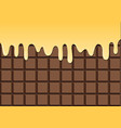 melted vanilla on chocolate bar vector image