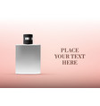 metallic bottle with black cap on pink gradient vector image vector image