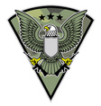 military bird mascot grab a pair rifle vector image vector image