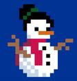 pixel art snowman vector image vector image