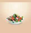 plate of vegetable salad lettuce vegetables vector image