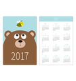 Pocket calendar 2017 year Week starts Sunday Flat vector image vector image