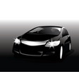 realistic car front view in the dark black car vector image vector image