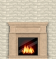 Realistic Marble Fireplace with Fire in Interior vector image vector image