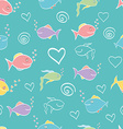 Seamless pattern cute cartoon fish vector image vector image