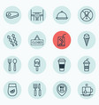 set of 16 cafe icons includes closed placard vector image vector image