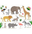 set of cute african animals icons isolated vector image