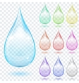 Set of multicolored transparent drops vector image vector image