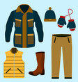 set of warm winter clothes design scarf and vector image