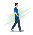 side view a man walking forward vector image vector image