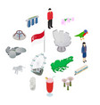 singapore icons set isometric 3d style vector image vector image