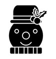snowman icon black sign on vector image vector image