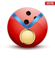 Sport gold medal with ribbon for winning bowling vector image