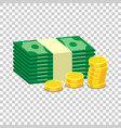 stacks of gold coins and stacks of dollar cash in vector image vector image