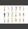 successful men in casual and sportswear enjoying vector image vector image