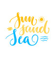 sun sand sea lettering isolated vector image vector image