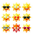 sun smiley face icons or yellow emoticons with vector image vector image
