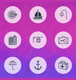 tourism icons set with buildings complex boat vector image vector image
