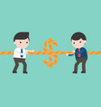 two businessmen pulling rope tug of war money game vector image vector image
