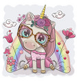 unicorn girl with flowers on a gray background vector image vector image