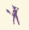 witch silhouette with a broomstick vector image vector image