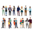 young beautiful people couples collection set vector image