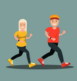 a man and a woman in sports clothes doing a run vector image vector image