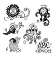 Animals alphabet l - p for children