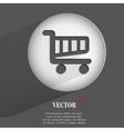 basket Flat modern web button with long shadow and vector image vector image