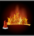 burning firefighter axe icon with fire flame vector image vector image