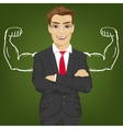 businessman with chalk healthy strong arm muscles vector image vector image