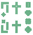 celtic style endless knot symbols in green vector image vector image
