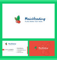 cherries logo design with tagline front and back vector image vector image