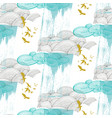 cloud pattern with birds vector image