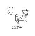 cute cartoon animals alphabet cow coloring vector image