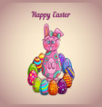 cute cartoon easter bunny with eggs vector image
