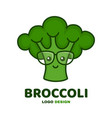 cute smiling smart broccoli in glasses vector image