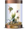 Cylindric bronze aquarium vector image vector image