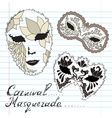 decorative masks vector image vector image
