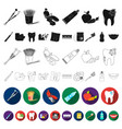 dental care flat icons in set collection for vector image vector image