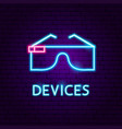 devices neon label vector image vector image
