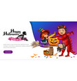 father and daughter making hallows pumpkin poster vector image vector image