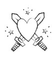 figure swors mediaval weapons with heart and stars vector image vector image