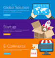 Flat design concept for global solution startup vector image vector image